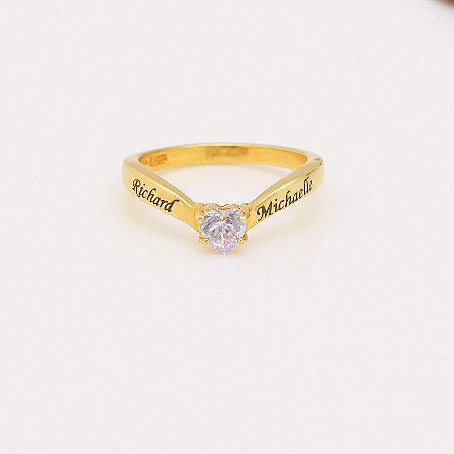Personalized Promise Ring - Heart Crystal