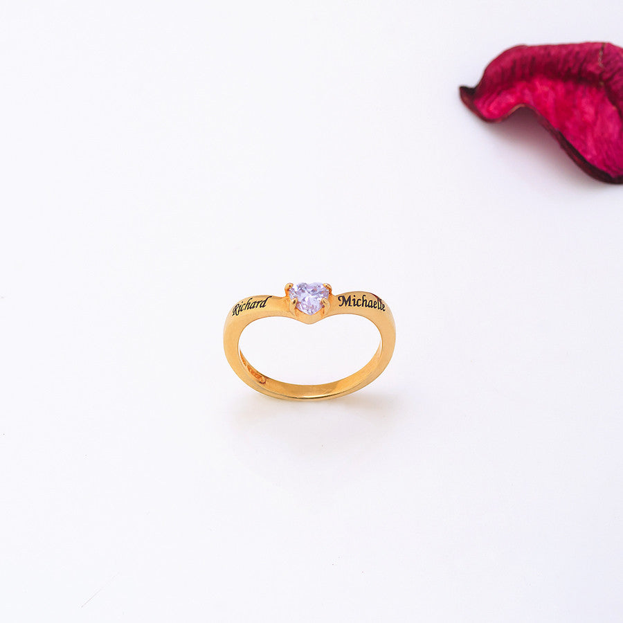Personalized Promise Ring - Heart Crystal 2