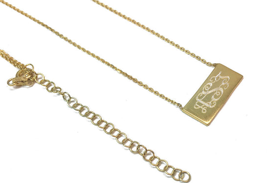 Small Monogram Bar Necklace - gold