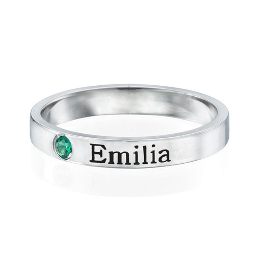 Sterling Silver Stackable Birthstone Ring 2