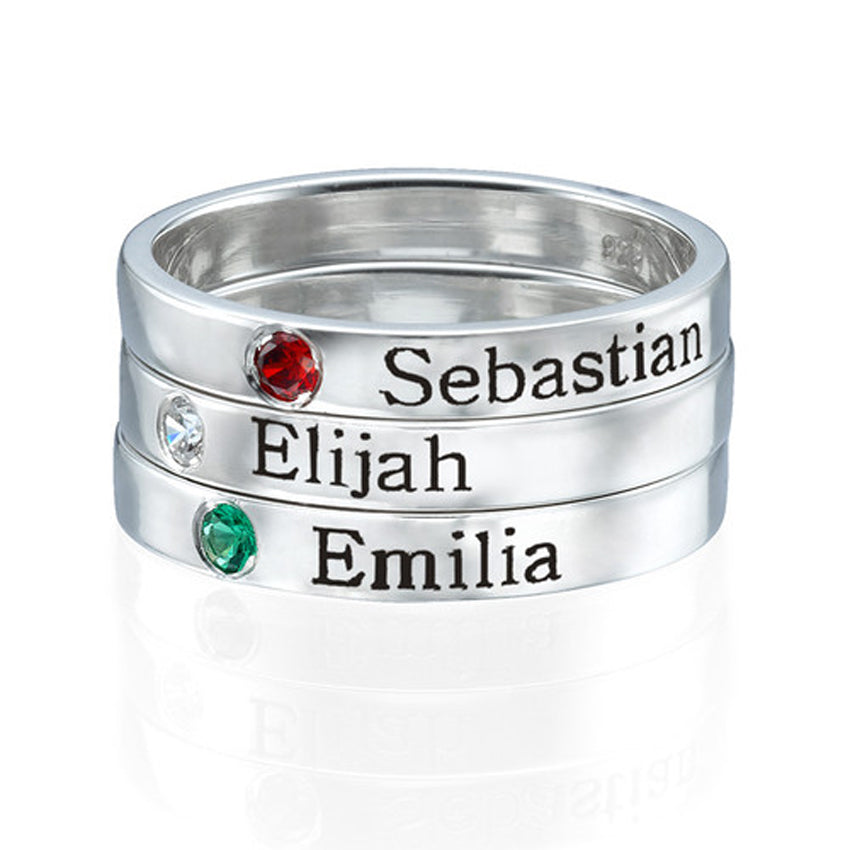 Sterling Silver Stackable Birthstone Ring