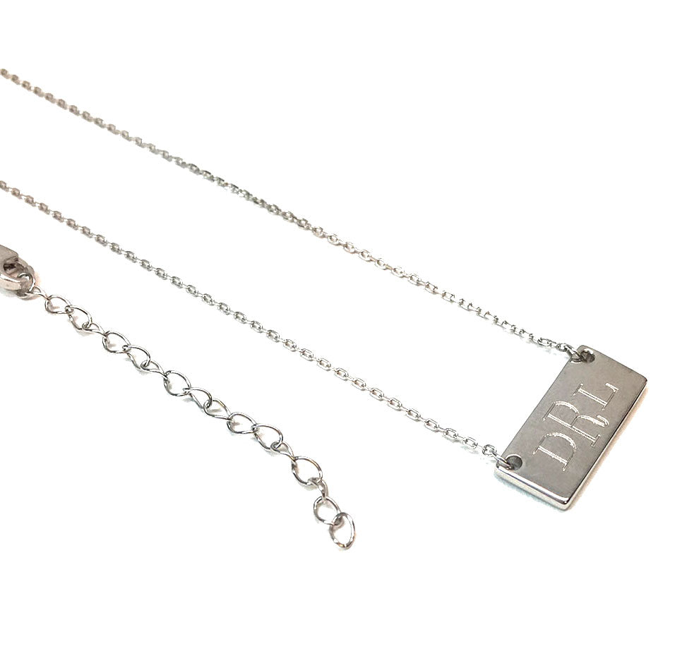 Small Sterling Silver Engraved Monogram Bar Necklace
