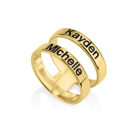 two name engraved gold ring