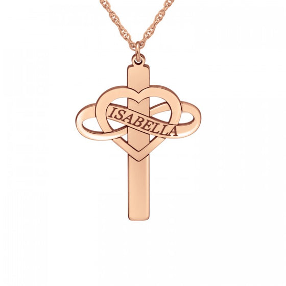Personalized Heart Infinity Name Cross Necklace