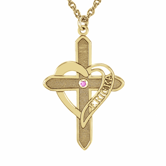 Engraved Heart Cross Necklace with Birthstone