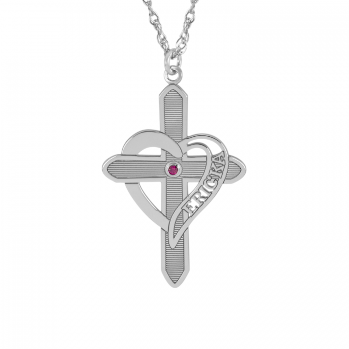 Engraved Heart Cross Necklace with Birthstone 2