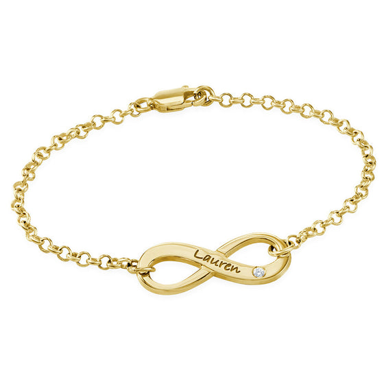 Gold Engraved Infinity Bracelet with Diamond