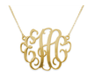 18K gold plated Vine Script Monogram Necklace 2