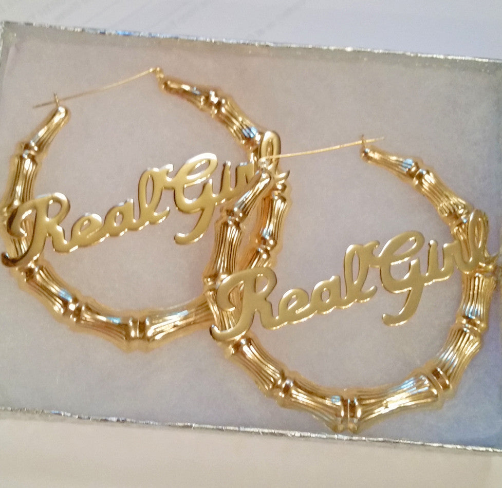 24k Gold Plated Large Bamboo Name Hoop Earrings Be