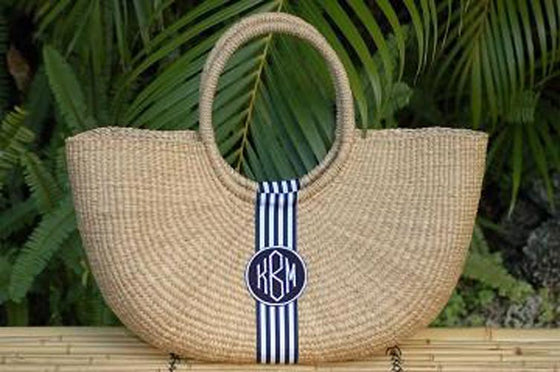 Monogram  X-Large Straw Shoulder Basket Bag