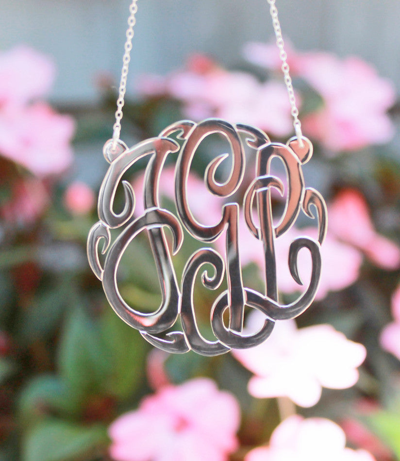 Extra Large Sterling Silver Fancy Script Monogram Necklace