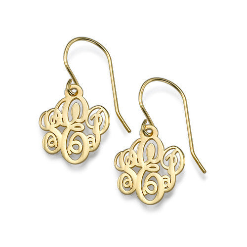 Gold Fancy Script Dangle Monogram Earrings