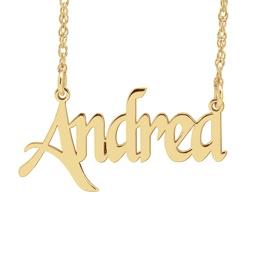 Custom Nameplate Necklace - Fancy Script gold