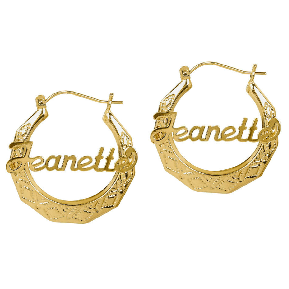 Personalized Filigree Name Hoop Earrings