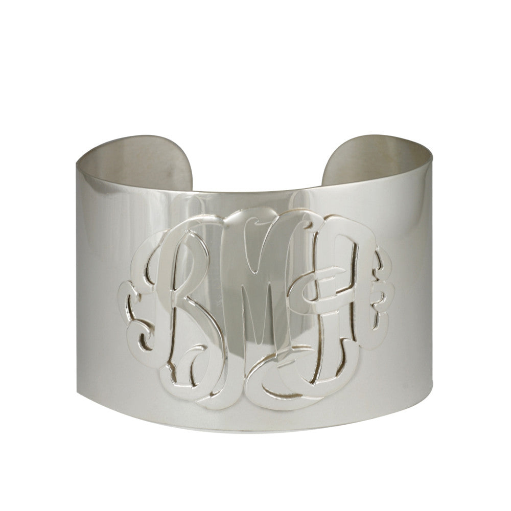Sterling Silver Monogram Thick Cuff Bracelet