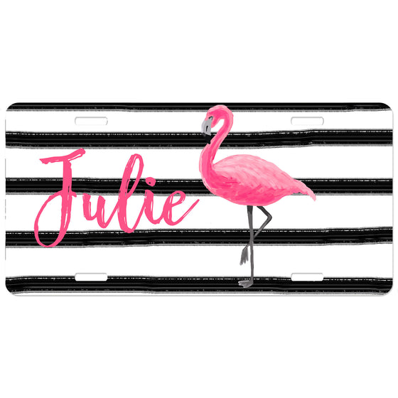 Personalized Car Tag License Plate - Flamingo