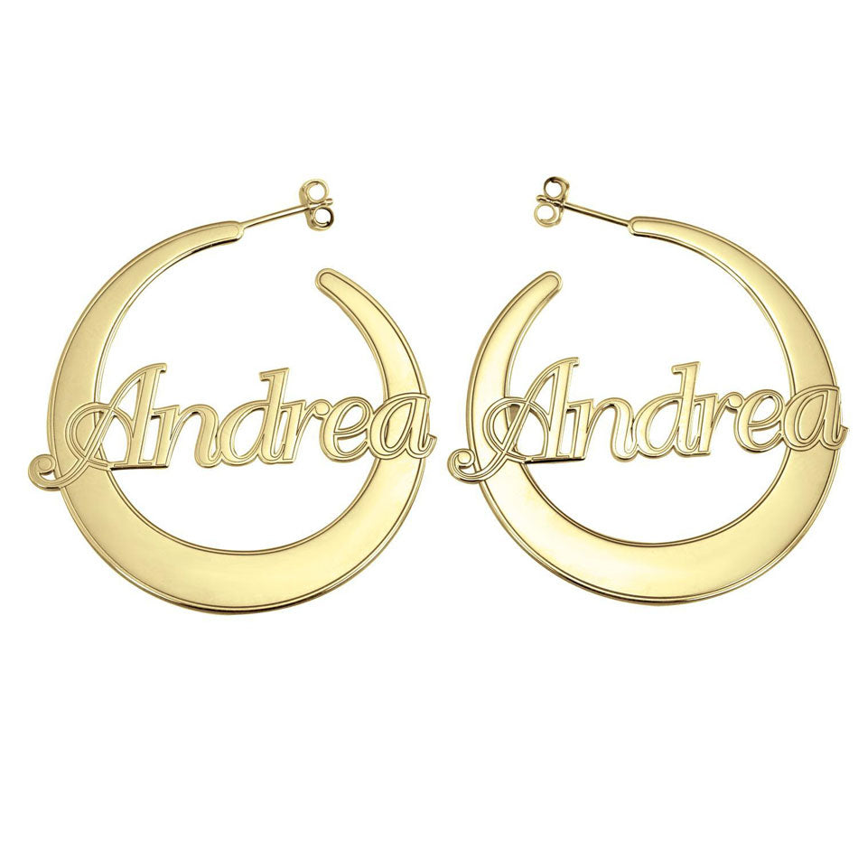 10K Gold Flattened Hoop Name Earrings