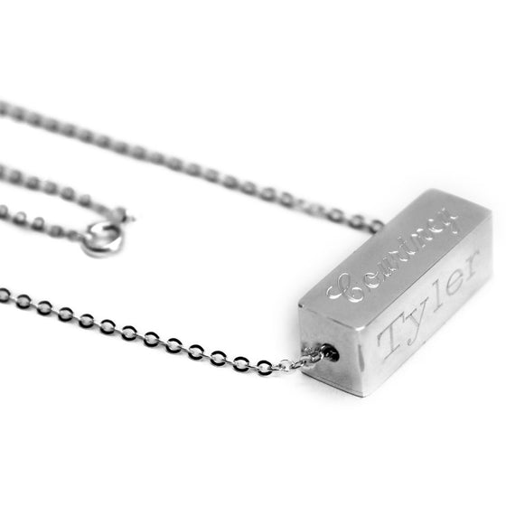 Sterling Silver Four Sided Engraved Bar Necklace