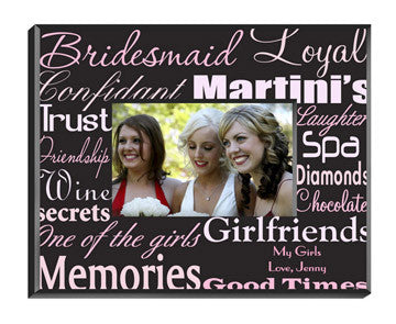 Personalized Bridesmaid Frame Pink On Brown