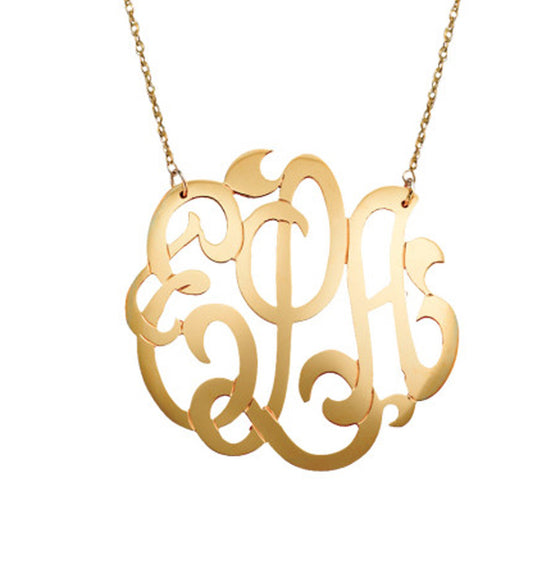 Large Gold Filled Lace Monogram Necklace