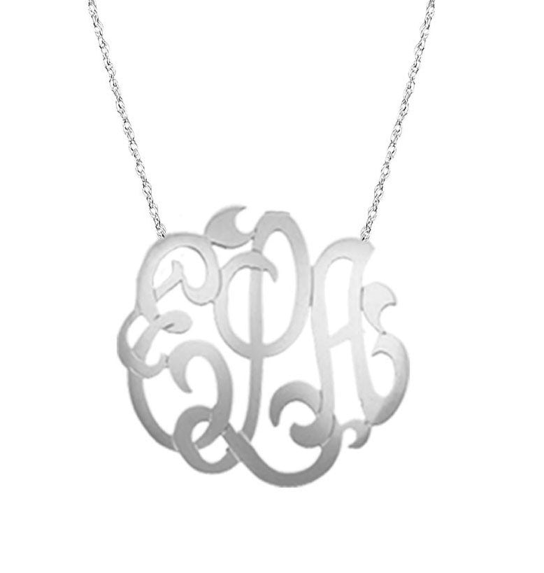 Medium Large Sterling Silver Freeform Monogram Necklace