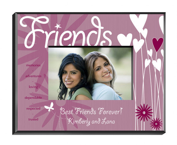 Personalized Friends Hearts Flowers Picture Frame