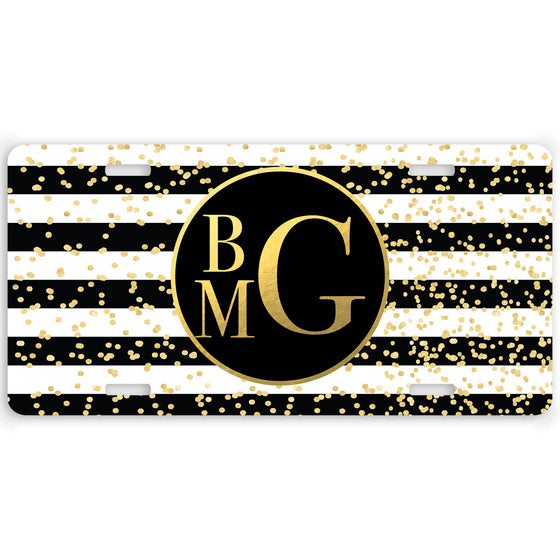 Glam Stripes Monogram Car Tag License Plate