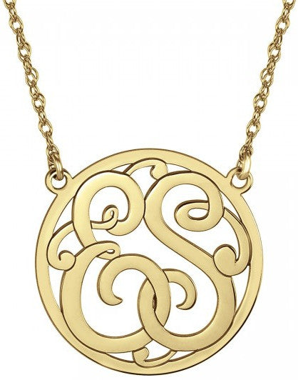 Classic Halo Two Initial Monogram Necklace