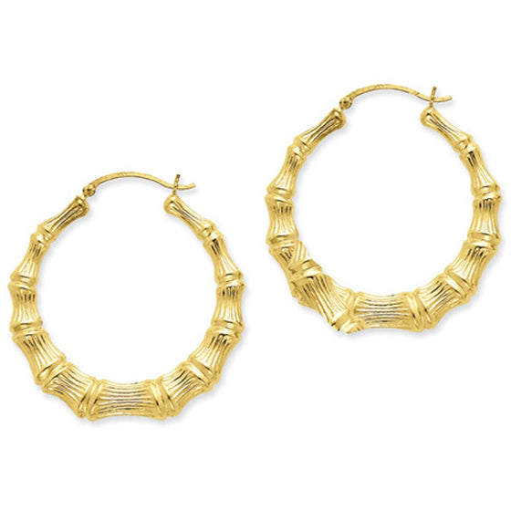 Large Bamboo Hoop Earrings