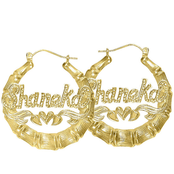 gold bamboo name hoop earrings