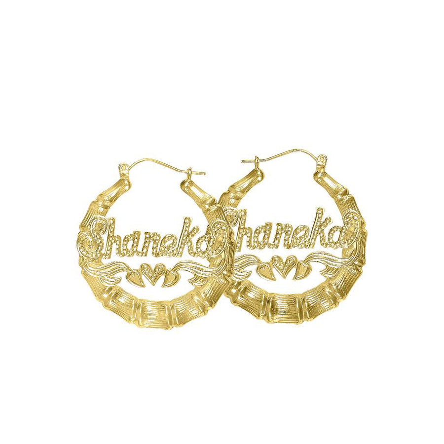 Bamboo Beaded Name Hoop Earrings 4