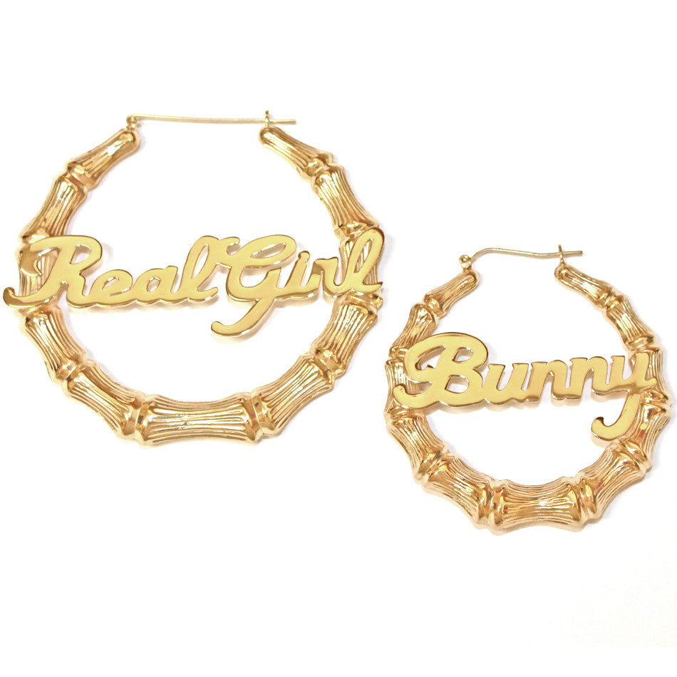 All About Custom Personalized Gold Plated Hoop Name Bamboo Earrings
