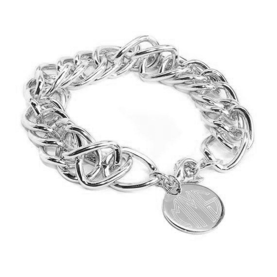 Monogram Double Link Charm Bracelet - Silver or Gold