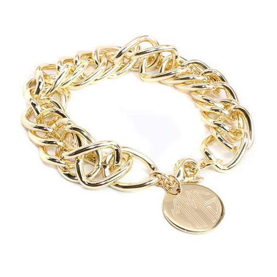 Monogram Double Link Charm Bracelet - Silver or Gold 2