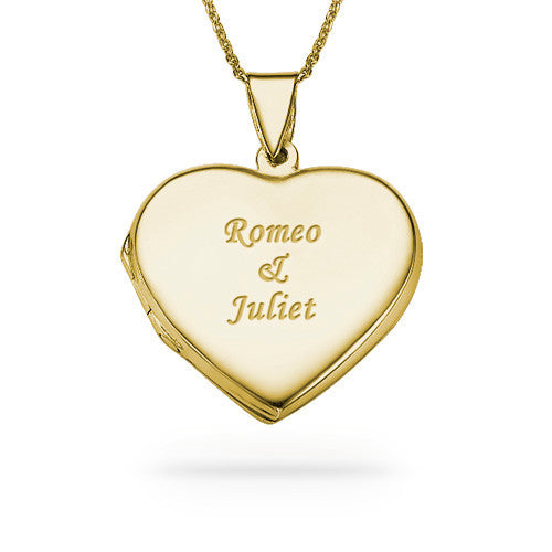 Personalized Gold Plated Heart Locket Necklace
