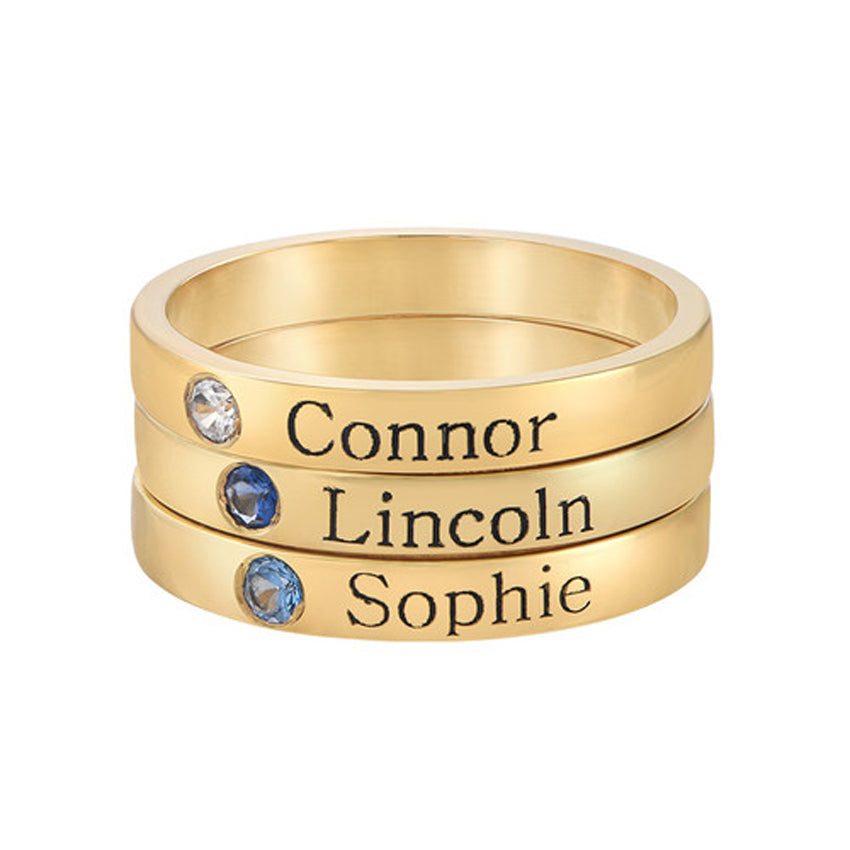 Gold Engraved Stackable Birthstone Ring