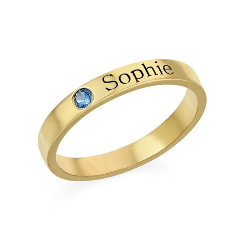 Engraved Stackable Birthstone Ring