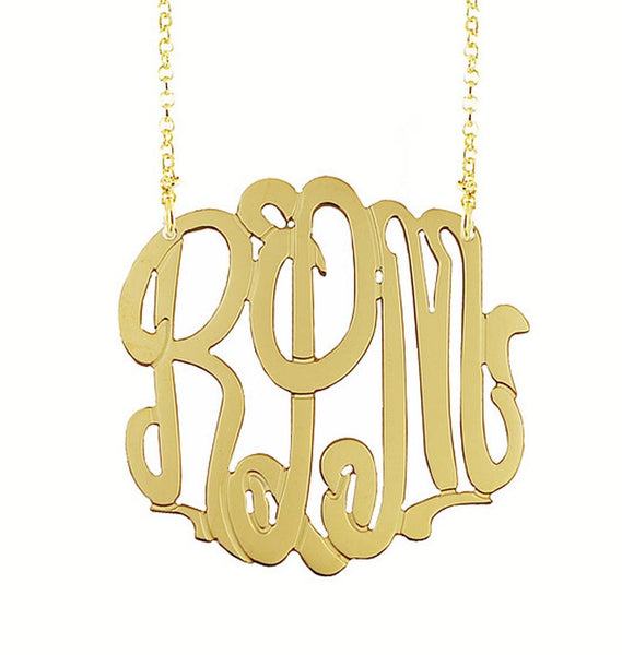 dcd44c749c01 Gold Filled 3 Initial Monogram Necklace from  99.00