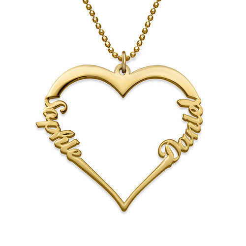 Two Name Heart Necklace
