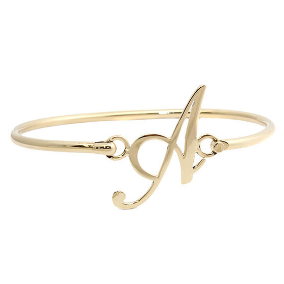 Personalized Gold Initial Bangle Bracelet