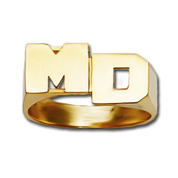 Personalized 14K Gold Stacked Initial Monogram Ring