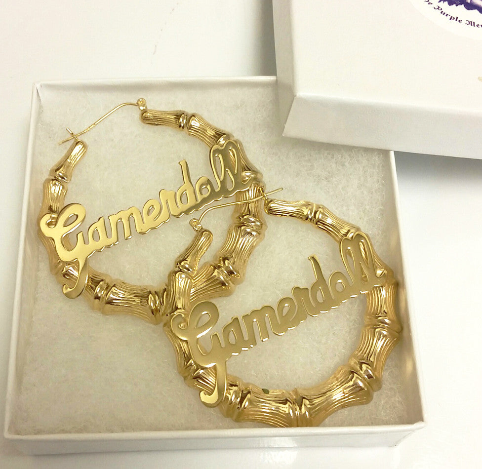 24k Gold Plated Large Bamboo Name Hoop Earrings Be Monogrammed