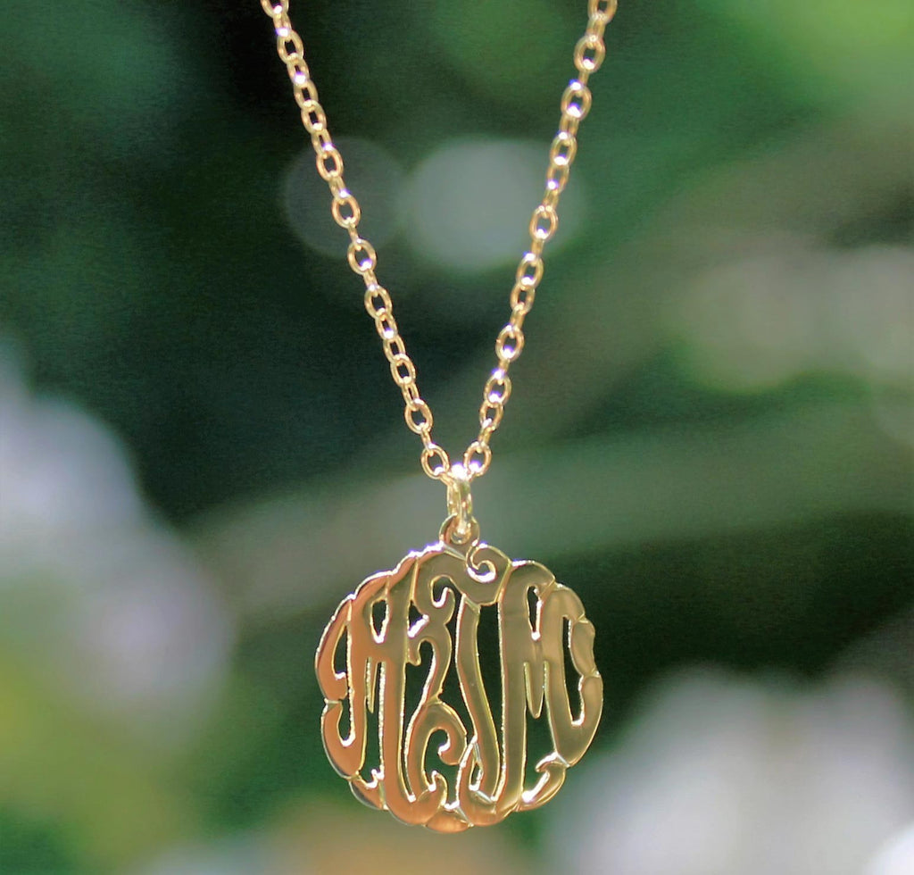 Gold Mini Monogram Necklace 3