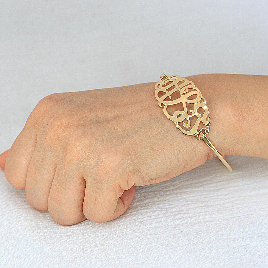 Gold Monogram Bangle Bracelet 3