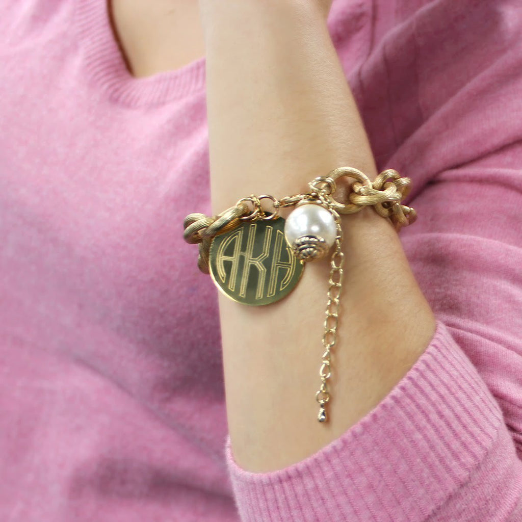 Gold Monogram Charm Bracelet with Pearl 4