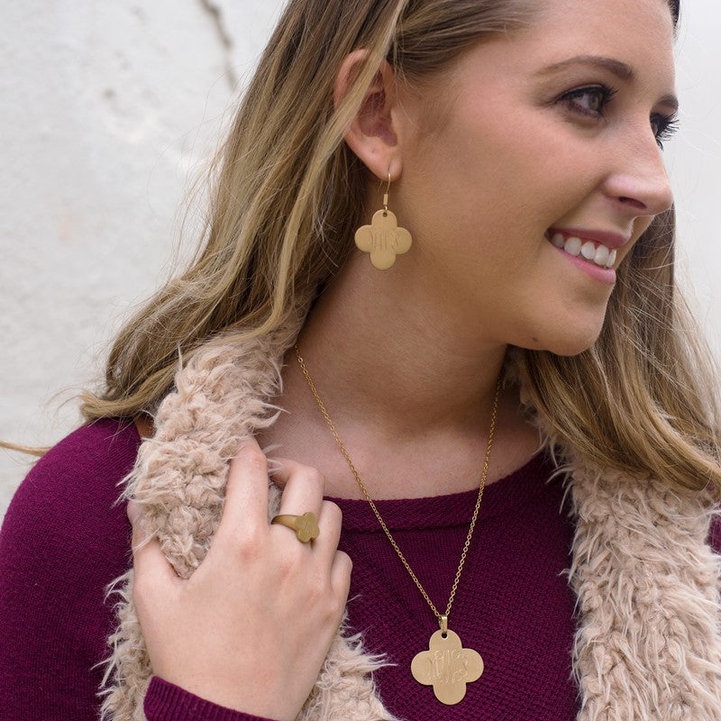 Gold Plated Clover Monogram Necklace