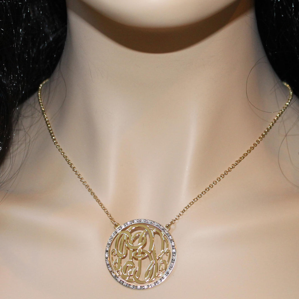 gold monogram cz necklace