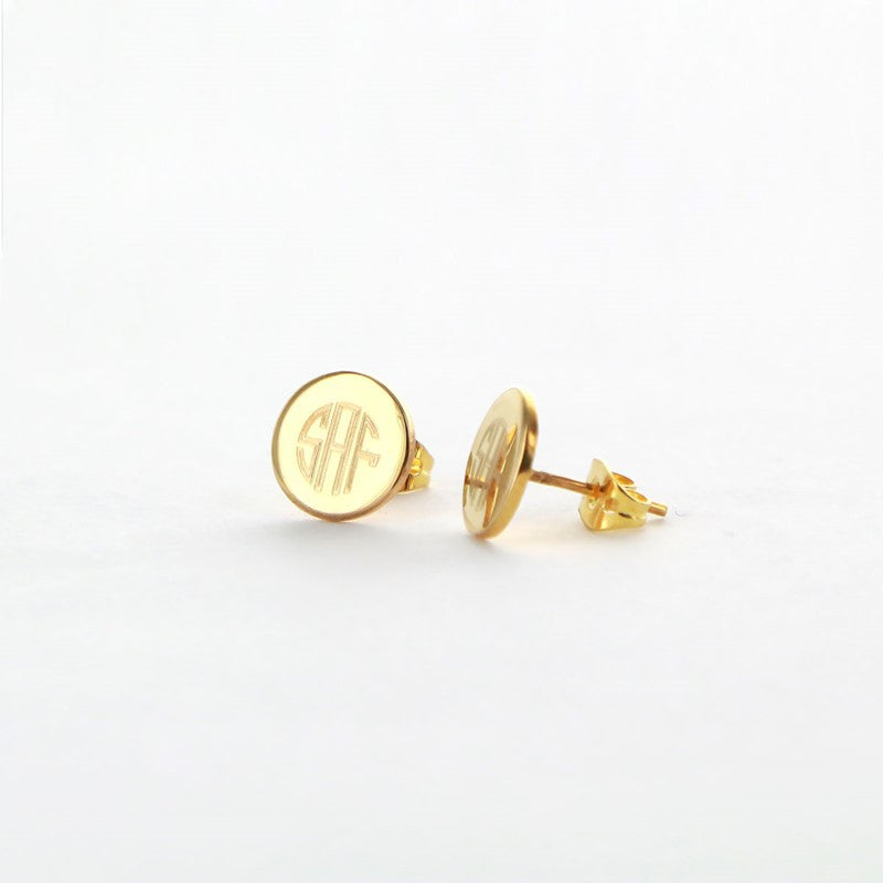 Personalized Gold Plated Round Stud Earrings