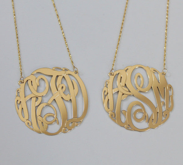 14K Gold Monogram Necklace - be monogrammed