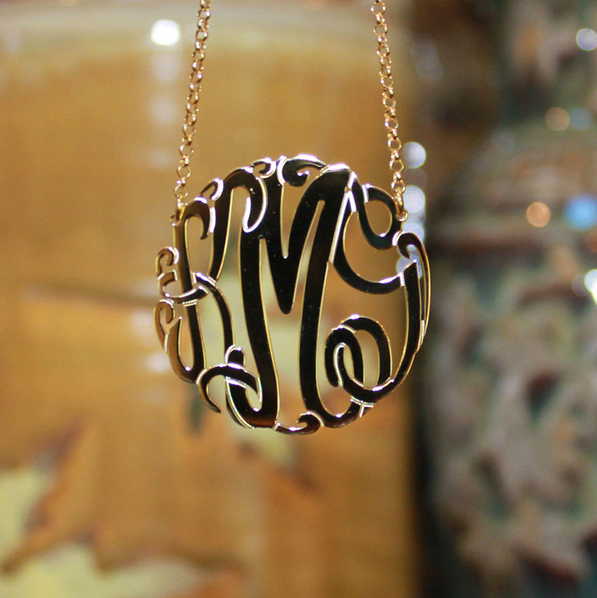 gold monogram necklace - 1 1/2 inch gold vermeil